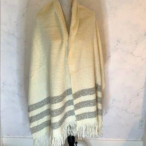 Cream & Grey Striped Shawl